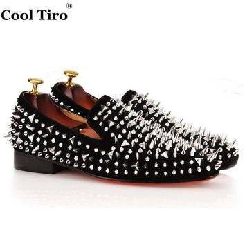 COOL TIRO Mens Loafers Shoes Black Suede Dandelion Spikes Rivets