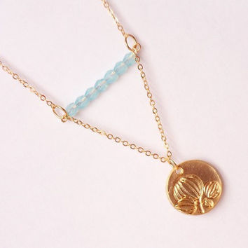 gold plated coin necklace, geometric necklace, blue crystal beads and pendant necklace, magnolia coin necklace