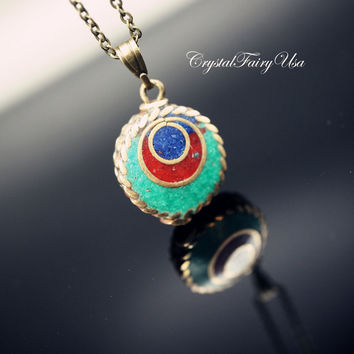 Retro Tiny Turquoise Necklace - Green Stone Peacock Feather Necklace  Bronze Nepal Necklace Lapis Necklace Jasper Necklace