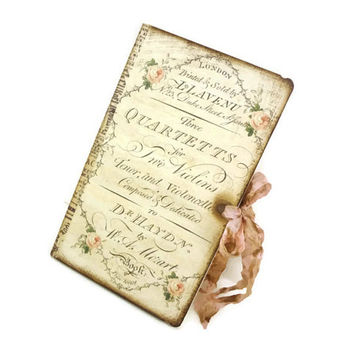 Shabby Music Journal, Musitians Notebook, Cottage Chic, Pale Pink, Poet's Journal, Mozart, Altered Notebook,  Istria Design Original