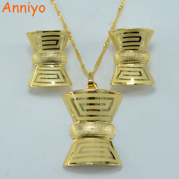 Anniyo Vintage Greek Fret set Jewelry Key-Pattern Pendant Necklace Earrings Gold Color Jewelry African Wedding #000718