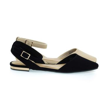 Cynic07 Black By Bamboo, Open Back Pointed Toe Flats with Ankle Wrap & Low Metallic Block Heel