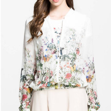 White Butterfly Jungle Print Chiffon Long Sleeve Cardigan