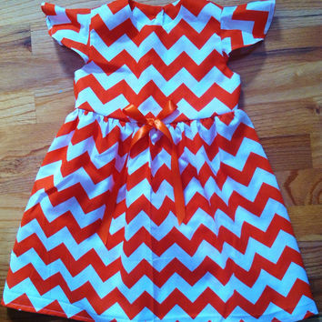 Girls Orange Chevron Dress, Girls Fall Dress, Thanksgiving Dress, Clemson Tigers