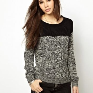 Only Color Block Cable Sweater