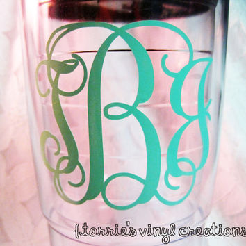 Monogrammed Tumbler by JewelVinylCreations on Etsy