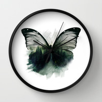 Double Butterfly Wall Clock by Cafelab