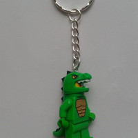Lizard man keychain keyring  made with LEGO®  series 6 minifigure