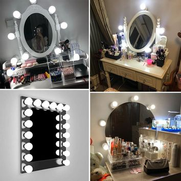 Wall Lamp 220V LED 16W Makeup Mirror Vanity 6 10 14 Led Light Bulbs 110V Hollywood Style White Lighting Led Lamp Touch Switch