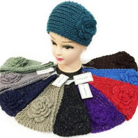 Winter Silver Lined Knitted Flower Headband Case Pack 24