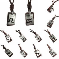 Brown Genuine Leather Zodiac Pendant Necklaces