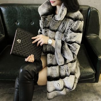 2015 women's real chinchilla dyed rex rabbit fur coat