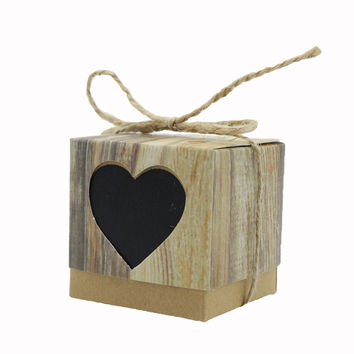 Imitation Bark Candy Box Black Love Heart Rustic Kraft with Rope Jute Shabby Chic Vintage Twine Wedding Favor Gift Boxes 24 Sets