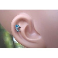 Aqua Star Moon Tragus Cartilage Earring