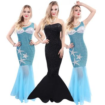 Sexy Mermaid Tail Sequined Dress Women Halloween Cosplay Costume Lace Party Dresses Role Playing Clothing