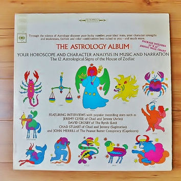 The Astrology Album 1967 Vinyl LP Horoscope Poster Character Analysis in Music and Narration 60s Hippie Astrological Zodiac Signs Wall Chart