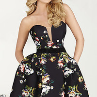 Short Strapless Print Dress by Hannah S