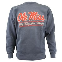 OLE MISS SCRIPT BAR CREW SWEATSHIRT