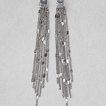 AEO Silver Chain Shoulder Duster Earring, Silver