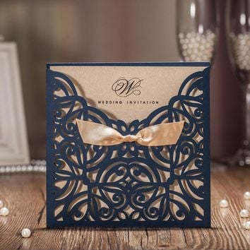 2017 New Free shipping Royal blue gold bow designed elegant laser cut wedding invitations cards 25pcs/lot