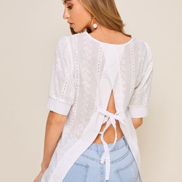 Eyelet Embroidery Tie Back White Blouse