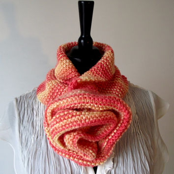 KNITTING PATTERN COWL Scarf - Rose Scarf Cowl Pattern Instant Download Knitting pattern High Fashion Scarf - Great for beginners