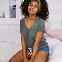 Aerie V-Neck Real Soft® Tee, Palm