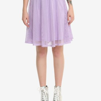 Purple Fishnet Overlay Circle Skirt