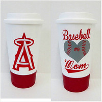 Personalized Coffee Mug * Baseball Mom * Travel Coffee Mug * Coffee mug * Custom Coffee Mug * Glitter dipped travel mug