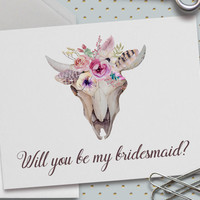 Boho Bridesmaid Card, Will You Be My Bridesmaid, Bridal Party, Maid of Honor,Deer Skull and Antlers,Rustic, Boho Floral,5.5 x 4.25 Inch (A2)