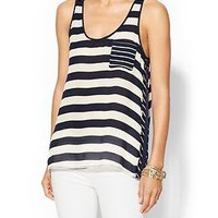 Michael Stars Positano Stripe Silk Pocket Tank | Piperlime