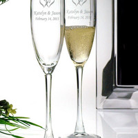 Personalized Intertwined Heart Toasting Flutes - David's Bridal