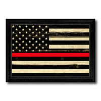 Thin Red Line Honoring our Men and Women of Law Enforcement American USA Flag Vintage Canvas Print with Black Picture Frame Home Decor Wall Art Decoration Gift Ideas