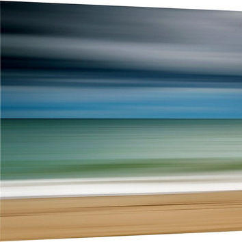 Canvas Gallery Wrap Beach Photography Abstract Large Wall Art Ocean Martha's Vineyard Blue Teal Beige Grey Coastal Art Oversized Print
