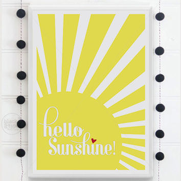 Hello Sunshine || typography art, hello sunshine print, typography print, morning print, sunny yellow, sunshine print, sun print, A3