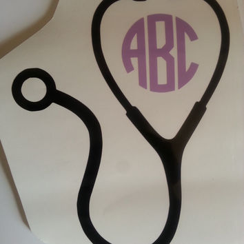 Monogram Stethoscope for Nurse RN CNA Car Window Water Bottle Cup Wall  Door Doctor Vinyl Decal Sticker