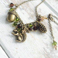 Brass squirrel necklace acorn fall jewelry autumn boho necklace mori girl clothing nature kei back to school teacher gift