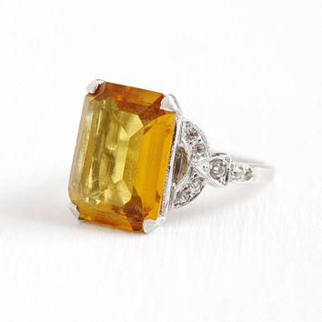 Vintage Sterling Silver Simulated Citrine & Rhinestone Paste Ring - 1940s Size 8 Large Orange Yellow Glass Stone Statement Cocktail Jewelry