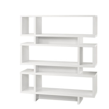 "White Hollow-Core 55""H Modern Bookcase"