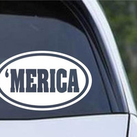'MERICA Euro Oval Die Cut Vinyl Decal Sticker