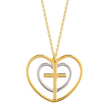 Two Tone Double Heart with Cross Necklace on a 16-18 inch Adjustble Yellow Gold Chain
