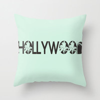 Hollywood Mint Green Throw Pillow 16x16 Illustration Home Decor Downtown