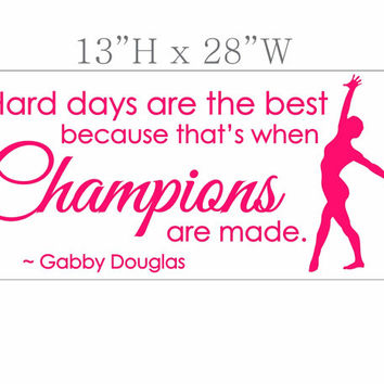 Champions SPORT Gymnastics GIRLS Custom Vinyl Wall Decals Art Stickers Quote Saying Nursery Kids Girls