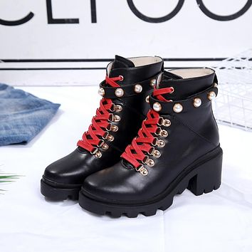 Gucci Trending Women Black Leather Lace-up Ankle Boots Shoes Best Quality