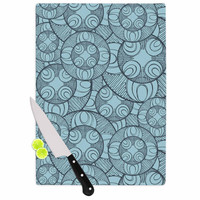 "Maike Thoma ""Layered Circles Design"" Blue Floral Cutting Board"