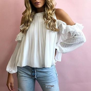 Annalise Open-Shoulder Boho Blouse