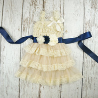 navy blue flower girl dress- champagne flower girl dress- lace girls dress- lace baby dress- navy blue sash- country girls dress- baby dress