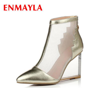 ENMAYLA Transparent Wedges High Heels Women Pumps Gold Silver Clear Shoes Women Pumps Wedges Summer Ankle Boots Women