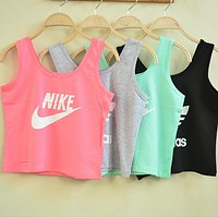 NIKE Woman Fashion Sexy Print Cotton Sport Gym Vest Tank Top Cami