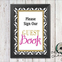 Single Image digital download Event Signs Black Gold and Pink Wedding Birthday Baby Shower Decor Party Supply Please sign our Guest Book